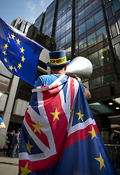 © Licensed to London News Pictures. 30/04/2019. London, UK. Anti-Brexit campaigner Steve Bray stands outside Labour Party headquarters. A National Executive Meeting is in progress at which Labour's position on a second EU vote will be decided. Photo credit: Peter Macdiarmid/LNP