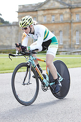 © Licensed to London News Pictures.  18/08/2012. OXFORD, UK. Jayme Paris (pictured), a member of the Australian Paralympic cycling team, takes part in the 20km time trial during the Bike Blenheim Palace festival in Woodstock, near Oxford.  The annual event is taking place over the weekend of 18th and 19th August. Photo credit :  Cliff Hide/LNP