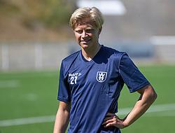 Carl Lange (FC Helsingør) under træningskampen mellem FC Helsingør og HIK den 1. august 2020 på Helsingør Ny Stadion (Foto: Claus Birch).