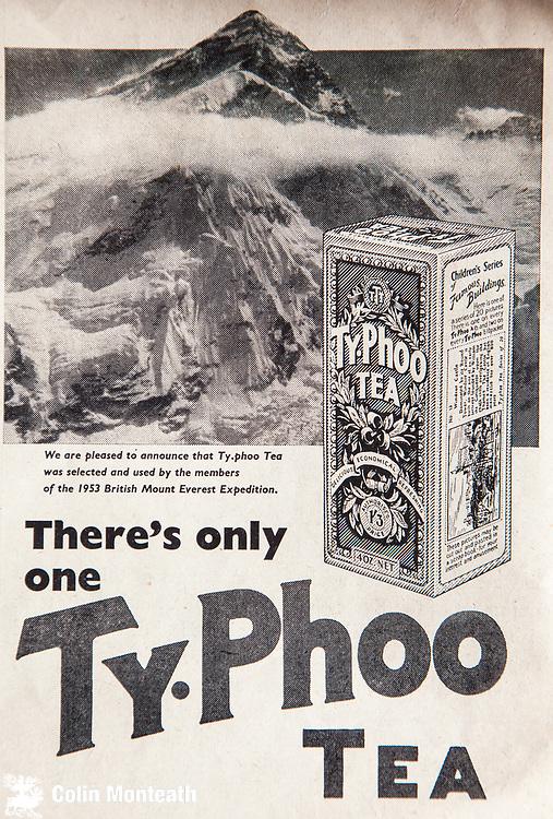Mount Everest 1953 British first ascent advert - Ty-phoo tea
