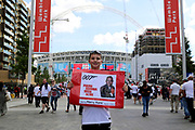 England fan holding sign during the Friendly International match between England and Nigeria at Wembley Stadium, London, England on 2 June 2018. Picture by Matthew Redman.