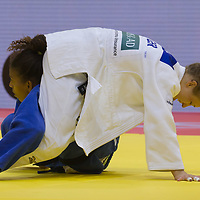 Rafaela Silva (bottom) of Brazil and Theresa Stoll (top) of Germany fight during the Women -57 kg category at the Judo Grand Prix Budapest 2018 international judo tournament held in Budapest, Hungary on Aug. 10, 2018. ATTILA VOLGYI