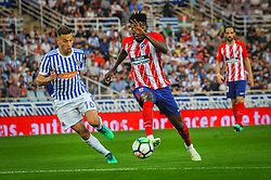 April 19, 2018 - San Sebastian, Spain - Sergio Canales of Real Sociedad duels for the ball with Thomas Partney of Atletico Madrid during the Spanish league football match between Real Sociedad and Atletico Madrid at the Anoeta Stadium on 19 April 2018 in San Sebastian, Spain  (Credit Image: © Jose Ignacio Unanue/NurPhoto via ZUMA Press)