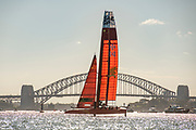 SailGP China Team in race two on day one of competition. Event 1 Season 1 SailGP event in Sydney Harbour, Sydney, Australia. 15 February 2019. Photo: Chris Cameron for SailGP. Handout image supplied by SailGP