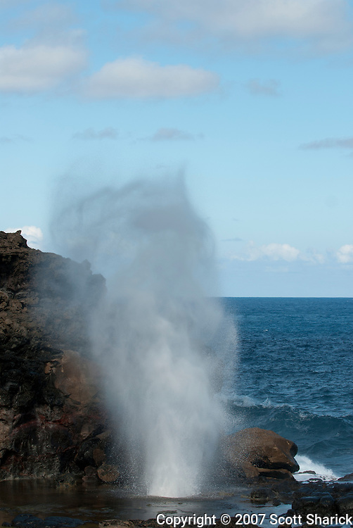 A blowhole on the north side of the island of Maui, Hawaii.