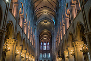 Inside Notre Dame cathedral in Paris, France.