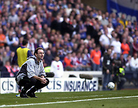 Photo: Greig Cowie<br />CIS Scottish Cup Final. Celtic v Rangers. Hampden Park Glasgow. 16/03/2003<br />Martin O'neill feels the agony of going down in the final