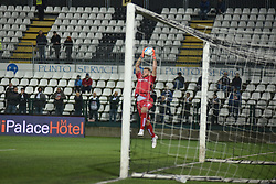 November 3, 2018 - Vercelli, Italy - Italian Goalkeeper Michele Di Gregorio from Novara Calcio team playing during Saturday evening's match against Pro Vercelli team valid for the 10th day of the Italian Lega Pro championship  (Credit Image: © Andrea Diodato/NurPhoto via ZUMA Press)
