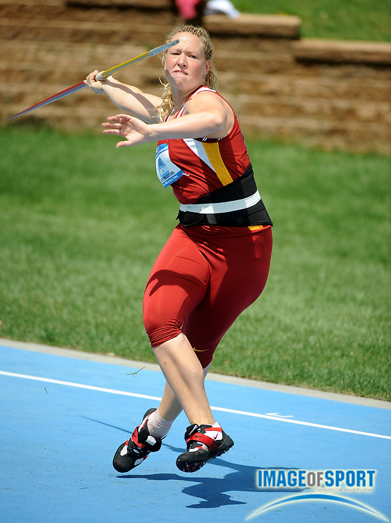 Jun 12, 2008; Des Moines, IA; Kristine Busa of Southern California threw 150-11 (45.99m) in the women's javelin preliminaries in the NCAA Track & Field Championships at Drake Stadium