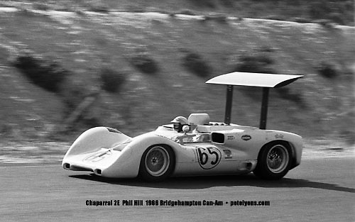 """Nine images of Chaparral's fabulous """"Road Runners,"""" all taken at races either by myself or my dad, Ozzie Lyons. Included are models 1, 2A, 2D, 2E, 2F, 2G, 2H and 2J, plus a shot of Jim Hall himself (= 9 images). Sold only as a set of 9 separate 5x8 prints, suitable for matting and framing as 5x7s, for $99 including FREE POSTAGE WORLDWIDE. (Due to the quantity I will not automatically sign them, but will gladly do so at no extra charge if you ask.)"""