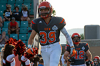KELOWNA, BC - AUGUST 3: Bailey Tisdel #42 and Ethan Guilbault #39 of Okanagan Sun run onto the field for the home opening game against the Kamloops Broncos at the Apple Bowl on August 3, 2019 in Kelowna, Canada. (Photo by Marissa Baecker/Shoot the Breeze)