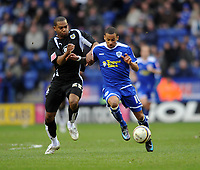 Leicester City/Bristol City Championship 08.03.08 <br /> Photo: Tim Parker Fotosports International<br /> DJ Campbell Leicester City & Marvin Elliott Bristol City