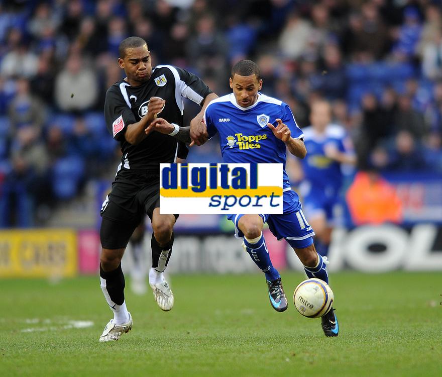 Leicester City/Bristol City Championship 08.03.08 <br /> Photo: Tim Parker Fotosports International<br /> DJ Campbell Leicester City & Marvin Elliott Bristol City
