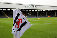 Fulham corner flag and main stand during the Sky Bet Championship match between Fulham and Charlton Athletic at Craven Cottage, London, England on 20 February 2016. Photo by Matthew Redman.