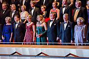 Staatsbezoek aan Nederland van Zijne Majesteit Koning Filip der Belgen vergezeld door Hare Majesteit Koningin <br /> Mathilde aan Nederland.<br /> <br /> State Visit to the Netherlands of His Majesty King of the Belgians Filip accompanied by Her Majesty Queen<br /> Mathilde Netherlands<br /> <br /> op de foto / On the photo: Contraprestatie in Muziekgebouw 't IJ van het Belgische koningspaar tijdens het driedaags staatsbezoek met 29-11-2016Koning Willem-Alexander, koningin Maxima, de Belgische koning Filip, koningin Mathilde, prinses Beatrix, prins Constantijn, prinses Laurentien, prinses Margriet ///// Contraprestatie in Music Building 't IJ of the Belgian royal couple during the three-day state visit to 29-11-2016Koning Willem-Alexander, Queen Maxima, the Belgian King Philip, Queen Mathilde, Princess Beatrix, Prince Constantijn, Princess Laurentien, Princess Margriet