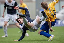 Falkirk's Lewis Small tackled by Cowdenbeath's Dean Brett.<br /> Falkirk 5 v 0 Cowdenbeath, Scottish Championship game played today at The Falkirk Stadium.<br /> © Michael Schofield.