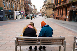Glasgow, Scotland, UK. 23 March 2021. On the first anniversary of the coronavirus pandemic lockdown the streets in Glasgow city centre are still quiet with only essential shops open. Pic; Buchanan Street is very quiet. Iain Masterton/Alamy Live News