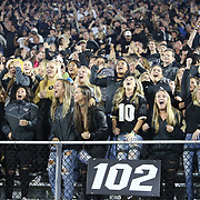 UCF students cheer after a fumble recovery during a NCAA football game between the University of South Florida Bulls and the UCF Knights at Spectrum Stadium on Friday, November 24, 2017 in Orlando, Florida. (Alex Menendez via AP)
