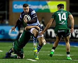 Aled Summerhill of Cardiff Blues is tackled by Jarrad Butler of Connacht<br /> <br /> Photographer Simon King/Replay Images<br /> <br /> Guinness PRO14 Round 14 - Cardiff Blues v Connacht - Saturday 26th January 2019 - Cardiff Arms Park - Cardiff<br /> <br /> World Copyright © Replay Images . All rights reserved. info@replayimages.co.uk - http://replayimages.co.uk