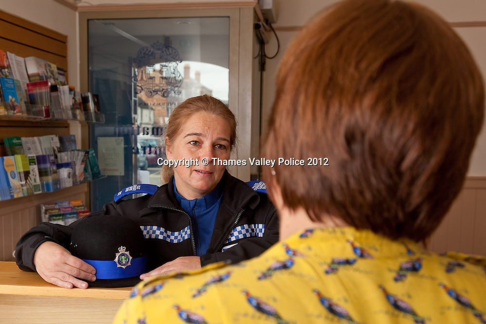 Portrait of PCSO Diane Jackson who has been named Thames Valley Police PCSO of the year for Oxfordshire in the 2012 Community Policing Awards, which are voted for by members of the public. Diane is pictured on her beat in Thame at the offices of the Town Council and at the town market. Cookham, UNITED KINGDOM. September 19 2012. <br /> Photo Credit: MDOC/Thames Valley Police<br /> © Thames Valley Police 2012. All Rights Reserved. See instructions.