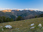 Looking south across the Rock Creek Valley towards Beartooth Pass from above treeline, Absaroka-Beartooth Wilderness, Custer National Forest, Montana