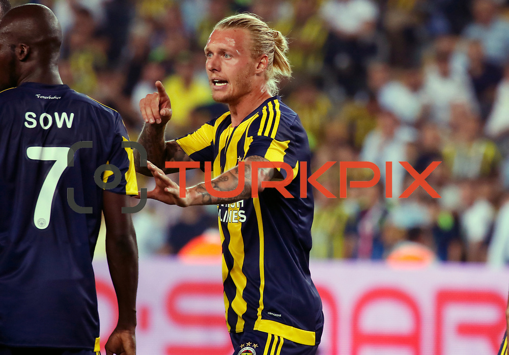 Fenerbahce's Sow (L) , Kjær (R)  during their UEFA Champions league third qualifying round first leg soccer match Fenerbahce between Shakhtar Donetsk at the Sukru Saracaoglu stadium in Istanbul Turkey on Tuesday 28 July 2015. Photo by Aykut AKICI/TURKPIX