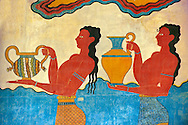 Arthur Evans reconstruction of Procession  Frescos of the  South Propylaeum of Knossos Minoan archaeological site, Crete ..<br /> <br /> Visit our GREEK HISTORIC PLACES PHOTO COLLECTIONS for more photos to download or buy as wall art prints https://funkystock.photoshelter.com/gallery-collection/Pictures-Images-of-Greece-Photos-of-Greek-Historic-Landmark-Sites/C0000w6e8OkknEb8 <br /> .<br /> Visit our MINOAN ART PHOTO COLLECTIONS for more photos to download  as wall art prints https://funkystock.photoshelter.com/gallery-collection/Ancient-Minoans-Art-Artefacts-Antiquities-Historic-Places-Pictures-Images-of/C0000ricT2SU_M9w