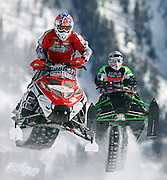 SHOT 1/26/08 2:54:29 PM - Bobby LePage (left) of Hermantown, MN gets airborne as Ryan Simons (right) of Camrose, AB Canada follows in hot pursuit during the Snowmobile Snocross elimination Saturday January 26, 2008 at Winter X Games Twelve in Aspen, Co. at Buttermilk Mountain. The 12th annual winter action sports competition features athletes from across the globe competing for medals and prize money is skiing, snowboarding and snowmobile. Numerous events were broadcast live and seen in more than 120 countries. The event will remain in Aspen, Co. through 2010..(Photo by Marc Piscotty / © 2008)