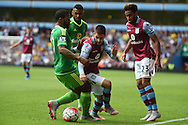 Aston Villa's Carles Gil ( c) tries to go past Sunderland's Jeremain Lens (l). Barclays Premier League match, Aston Villa v Sunderland at Villa Park in Birmingham, Midlands on Saturday 29th August  2015.<br /> pic by Andrew Orchard, Andrew Orchard sports photography.