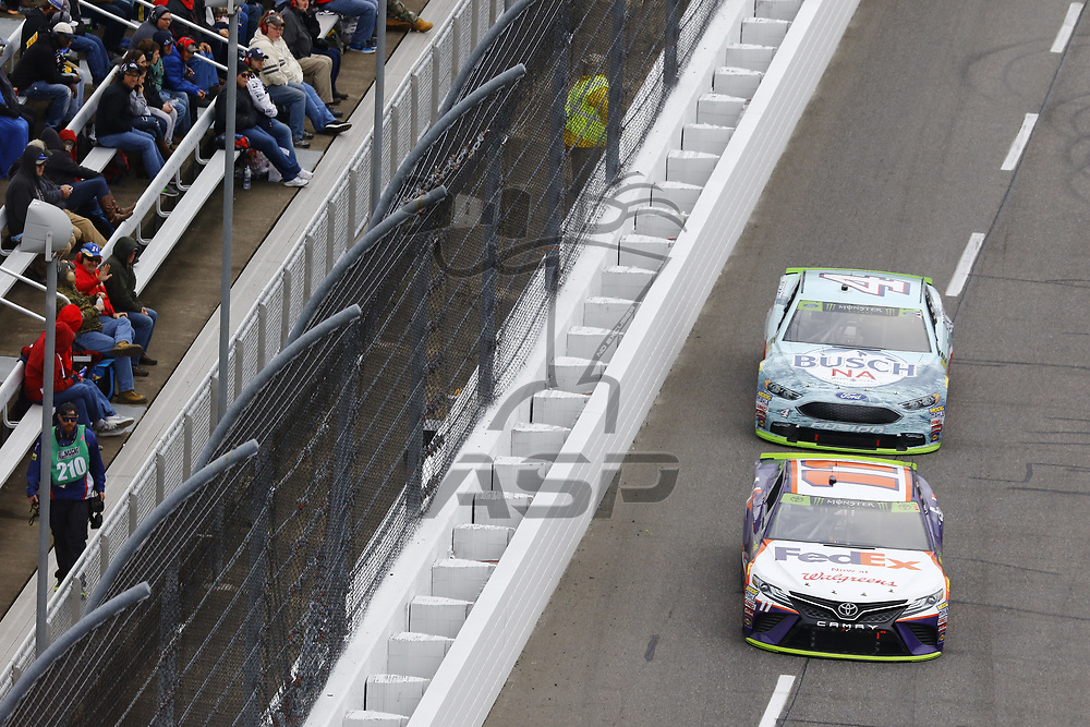 October 29, 2017 - Martinsville, Virginia, USA: Denny Hamlin (11) brings his race car down the front stretch during the First Data 500 at Martinsville Speedway in Martinsville, Virginia.
