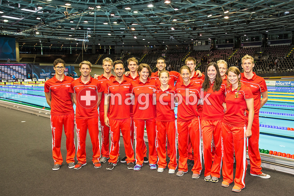 Swimmers of team Switzerland pose for photo during the LEN European Swimming Championships at Europa-Sportpark in Berlin, Germany, Sunday, Aug. 24, 2014. (Photo by Patrick B. Kraemer / MAGICPBK)