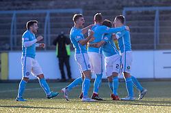 Forfar Athletic's Mark Hill (8) cele scoring their third goal. Forfar Athletic 3 v 2 Raith Rovers, Scottish Football League Division One played 27/10/2018 at Forfar Athletic's home ground, Station Park, Forfar.