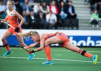 AMSTELVEEN -  Caia van Maasakker (Ned)   tijdens Nederland - Spanje (dames) bij de Rabo EuroHockey Championships 2017.  COPYRIGHT KOEN SUYK