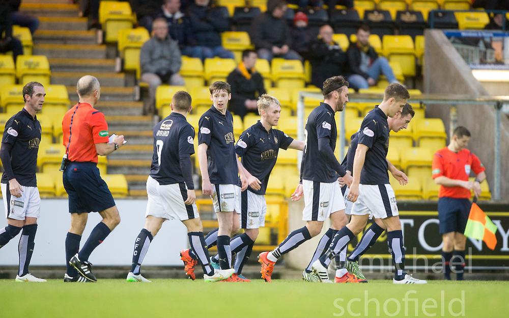 Falkirk's Craig Sibbald cele scoring their goal. <br /> Half time : Livingston 0 v 1 Falkirk, Scottish Championship game at The Tony Macaroni Arena at 23/1/2016.
