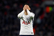 Son Heung-min of Tottenham Hotspur reacts after a missed chance to score. Premier league match, Tottenham Hotspur v Stoke City at Wembley Stadium in London on Saturday 9th December 2017.<br /> pic by Steffan Bowen, Andrew Orchard sports photography.