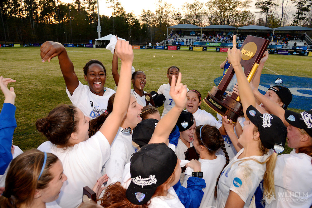 01 DEC 2012: The University of West Florida soccer team celebrates their win over UC San Diego during the 2012 NCAA Women's Division II Soccer Championship held at Blanchard Woods Park hosted by the Peach Belt Conference in Evans, GA. West Florida defeated UC San Diego 1-0 to win the national title. Brett Wilhelm/ NCAA Photos