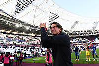 Football - 2021 / 2022  Premier League - West Ham United vs Brentford - The London Stadium - Sunday 3rd October 2021<br /> <br /> Brentford manager Thomas Frank salutes the fans at the end of the game.<br /> <br /> COLORSPORT/Ashley Western