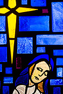 Stained glass depicting Mary, the mother of Jesus Christ, seen on Saturday, April 17, 2021, at Iglesia Luterana Cristo El Salvador, Del Rio, Texas. LCMS Communications/Erik M. Lunsford