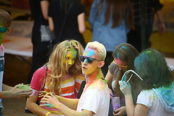 June 24, 2017 - Warsaw, Poland - Holi festival takes place starting summer holidays season. Youths gather to celebrate the color powder event. (Credit Image: © Jakob Ratz/Pacific Press via ZUMA Wire)
