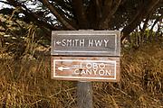 Trail sign to Lobo Canyon, Santa Rosa Island, Channel Islands National Park, California USA
