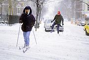 Skiing in Blizzard, Greenwich Village, Manhattan, New York