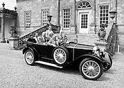 At the Irish Shell Ltd reception for the 80th Gordon Bennett Rally,  Russborough House, Blessington, County Wicklow, in Mr Maguire's Peugeot 1924, are (l–r): Mr and Mrs Rowe, Mr and Mrs Bernan and Miss Grainne O'Carroll, and Mr and Mrs John and Pat Maguire, President of the club.<br /> 30 June 1983