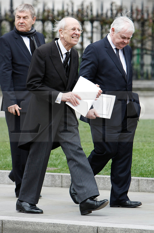© Licensed to London News Pictures. 17/04/2013. London, U.K..norman tebbit (middle) and norman lamont (right) leave st. pauls cathedral after the ceremonial Funeral with military honours of Baroness Thatcher , the first female Prime Minister of United Kingdom (today 17/4/2013), who died last week of a stroke..Photo credit : Rich Bowen/LNP