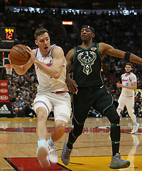 February 9, 2018 - Miami, FL, USA - The Miami Heat's Goran Dragic, left, drives against the Milwaukee Bucks' Jason Terry during the second quarter at the AmericanAirlines Arena in Miami on Friday, Feb. 9, 2018. The Heat won, 91-85. (Credit Image: © David Santiago/TNS via ZUMA Wire)
