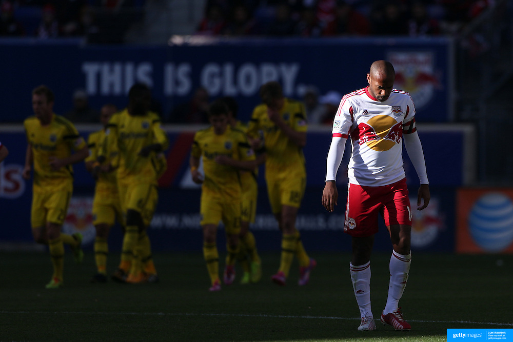 Thierry Henry, New York Red Bulls, after a goal by Columbus Crew in the New York Red Bulls 3-1 loss during the New York Red Bulls Vs Columbus Crew, Major League Soccer regular season match at Red Bull Arena, Harrison, New Jersey. USA. 19th October 2014. Photo Tim Clayton