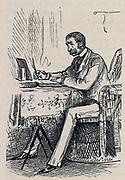 Man writing at a table. Engraving 1882.