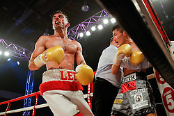 The referee brings and end to proceedings as Lee Haskins (white shorts, red trim) beats Ryosuke Iwasa (black and printed shorts) by 6th Round stoppage to win the Interim IBF World Bantamweight Title Fight in his home City of Bristol - Photo mandatory by-line: Rogan Thomson/JMP - 07966 386802 - 13/06/2015 - SPORT - BOXING - Bristol, England - Action Indoor Sports Arena - Lee Haskins vs Ryosuke Iwasa - Interim IBF World Bantamweight Title Fight.