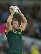 London, Great Britain,     Bismarck DU PLESSIS, throwing in, during the South Africa vs Argentina. 2015 Rugby World Cup, Bronze Medal Match.Queen Elizabeth Olympic Park. Stadium, Stratford. East London. England,, Friday  30/10/2015. <br /> [Mandatory Credit; Peter Spurrier/Intersport-images]