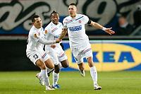ENSCHEDE - FC Twente - Helsingborgs IF ,  Voetbal Europa League , seizoen 2012-2013 , 06-12-2012  , Grolsch Veste , Helsingborgs speler Nikola Djurdic (r) heeft 1-0 gescoord en viert dat met Helsingborgs speler Rachid Bouaouzan (l).