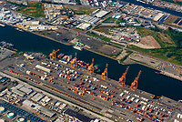 Aerial view of a container ship dock, Seattle, Washington USA.